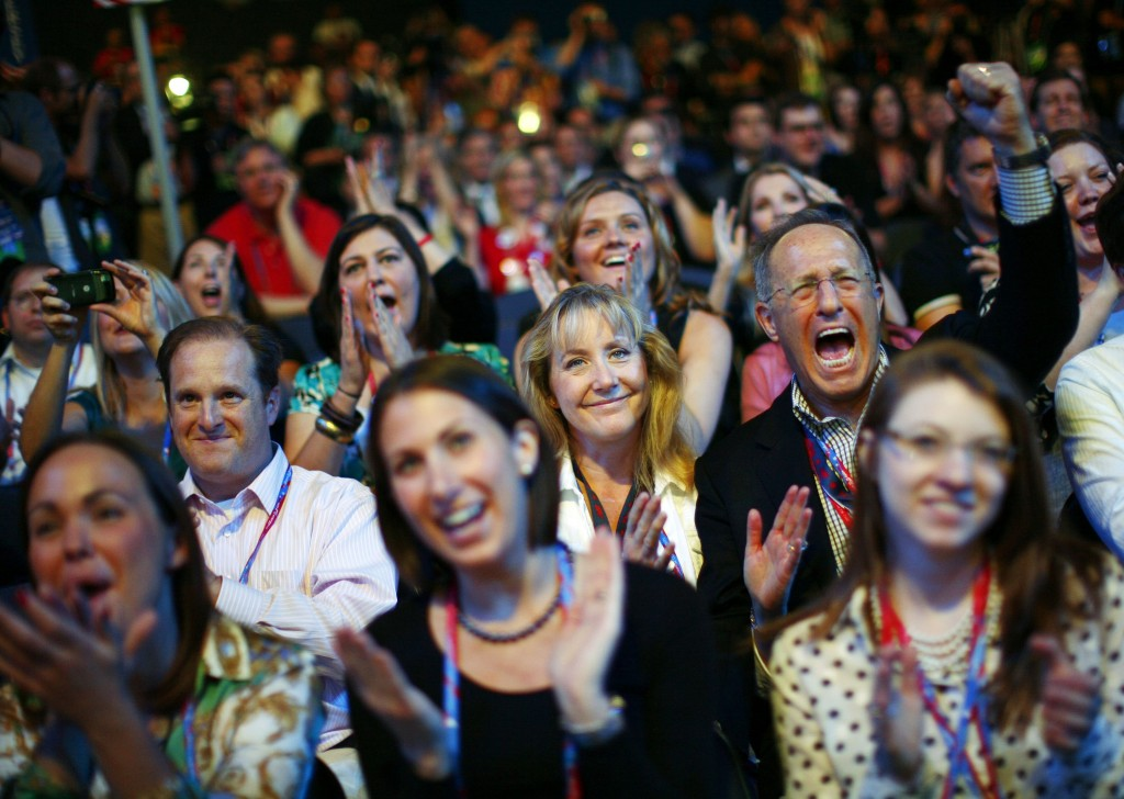 Delegates cheer during the opening session of the 2012 Republican National Convention in Tampa, Florida, in this August 27, 2012 file photo.The 2,472 delegates to the 2016 convention will ultimately determine the party's choice for nominee at a convention that could become a brutal fight in which every delegate vote will count. To Match USA-ELECTION/DELEGATES   REUTERS/Eric Thayer/Files - RTSB2UJ