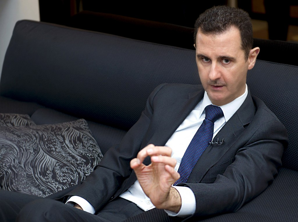 A handout picture released by the Syrian Arab News Agency on June 17, 2013 shows Syrian President Bashar al-Assad speaking during an interview with German Frankfurter Allgemeine Zeitung newspaper in Damascus. Photo from AFP/Getty Images