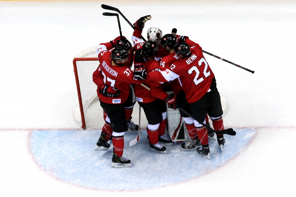 The Canadian men's ice hockey team celebrates their win over the U.S. in Sochi, Russia on Friday. Photo by Getty Images