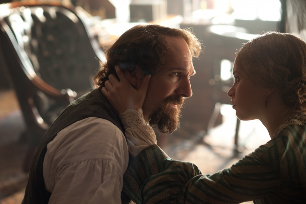 "Ralph Fiennes as Charles Dickens and Felicity Jones as Nelly Ternan in ""The Invisible Woman."" Photo by David Appleby/Sony Pictures Classics"