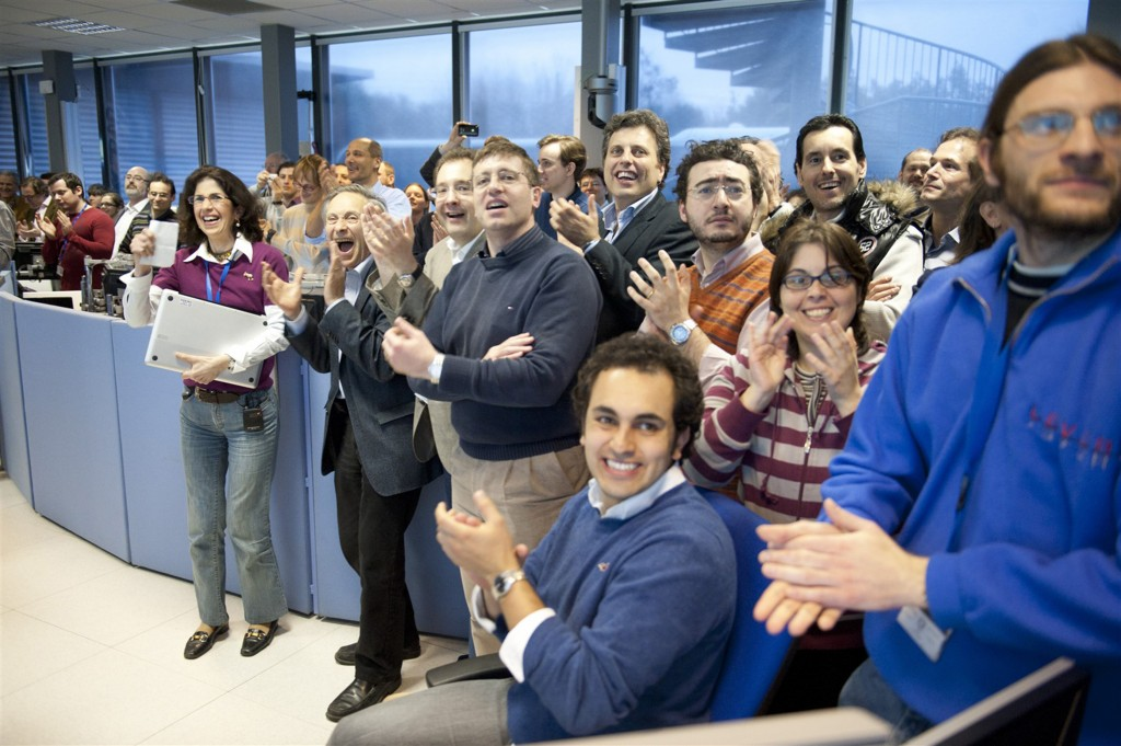 Fabiola Gianotti and other CERN physicists celebrate the first results of the Large Hadron Collider in March 2010. Photo courtesy of CERN