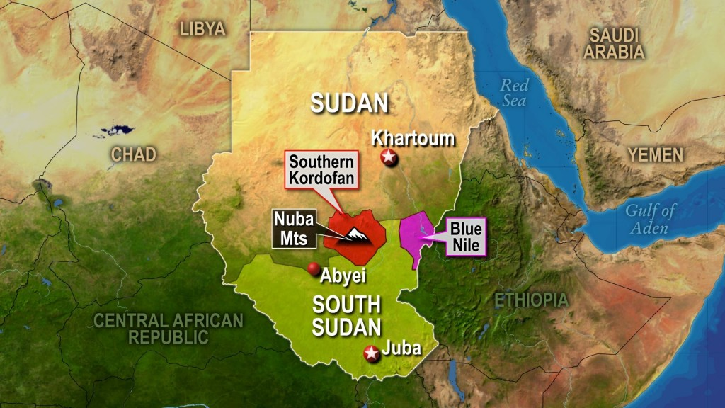 Map of Sudan and South Sudan, including contested territories along the border