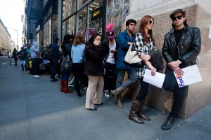 In 2009, job seekers lined up at an American Apparel store. Now, the company has filed for bankruptcy.
