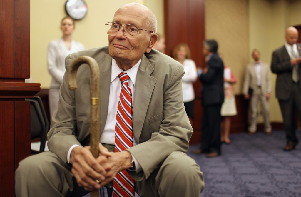 U.S. Rep. John Dingell (D-MI) participated in a rally to mark the 46th anniversary of the passage of Medicare at the U.S. Capitol on July 27, 2011. The longest currently-serving member of Congress, Dingell wielded the gavel during that historic session of the House of Representatives in 1965. Photo by Chip Somodevilla/Getty Images