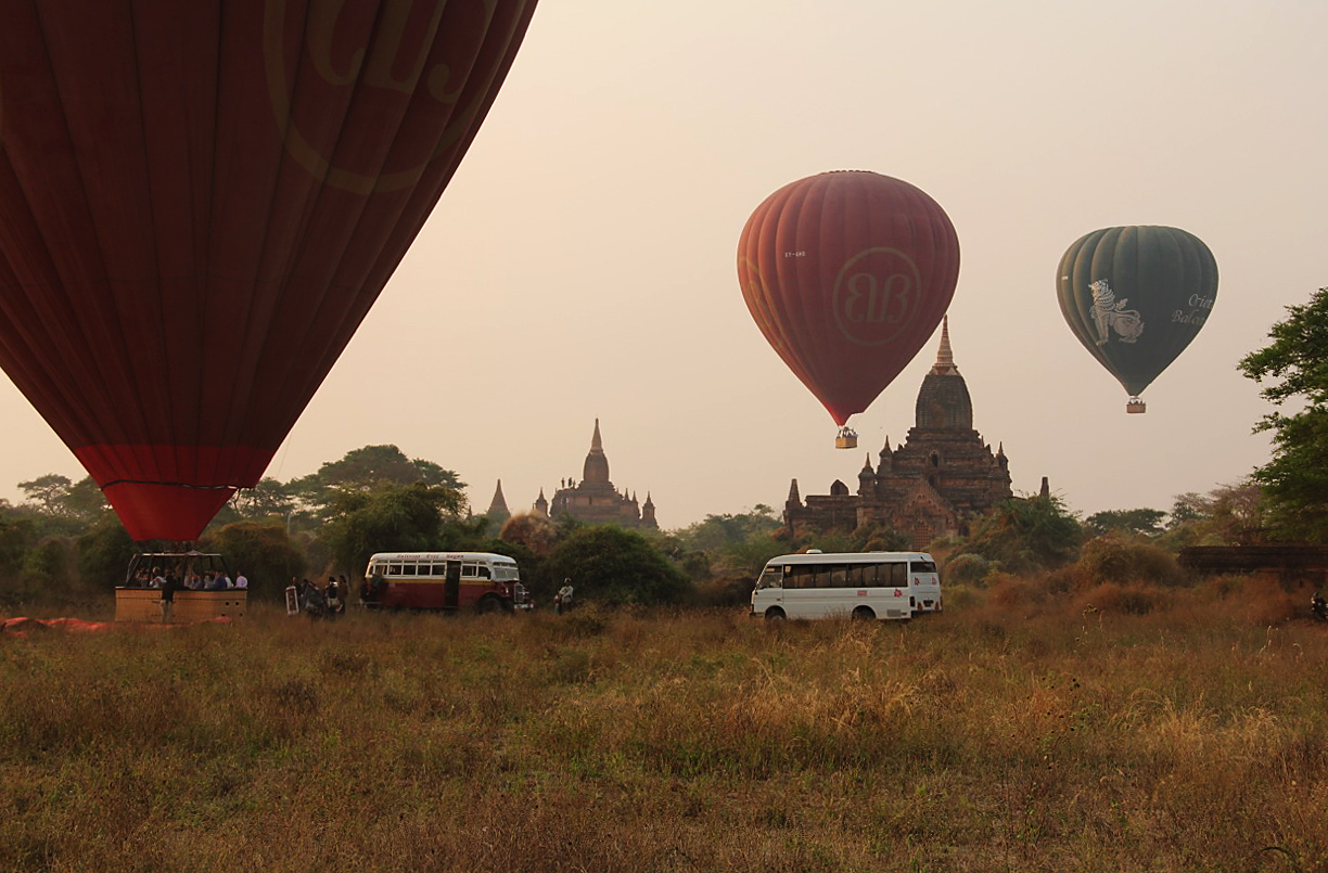 Tourists pay $350 for a 40-minute balloon ride at sunrise over the temples and pagodas in Bagan. Photo by Mary Jo Brooks/PBS NewsHour