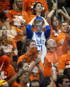 Underdog madness: 14th-seeded Mercers pulls off the upset over 3rd-seeded Duke on the second day of NCAA men's basketball tournament action. Photo by Corey Lowenstein/Raleigh News & Observer/MCT