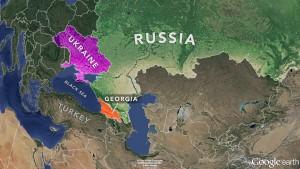 Map of Russia, Ukraine, Georgia, NewsHour Weekend