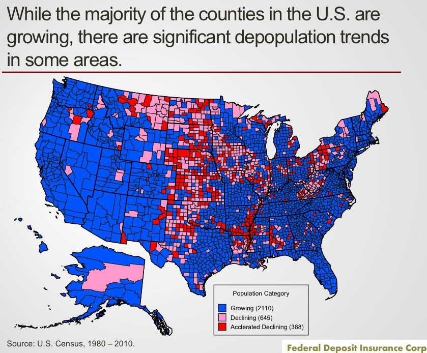 Rural area depopulation, U.S. Census 1980-2010