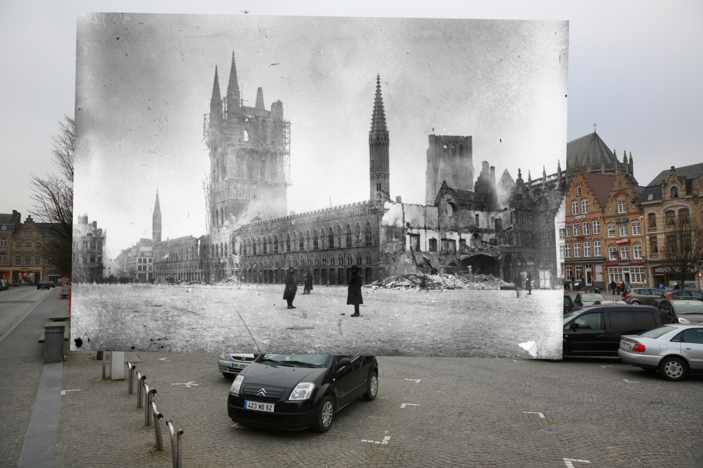 Les Halles in the Belgium town of Ypres was the site of three major battles during World War I, and was almost completely devastated by bombing in 1915. 1915 photo by Hulton ARCHIVE/Getty Images. 2014 photo by Peter Macdiarmid/Getty Images