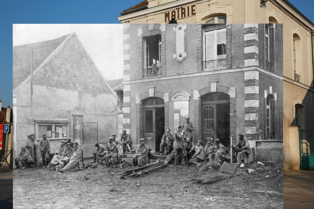 In 1914, German troops sit on the steps of the Vareddes Town Hall, France, during the First Battle of the Marne. 1914 photo by Print Collector/Getty Images. 2014 photo by Peter Macdiarmid/Getty Images