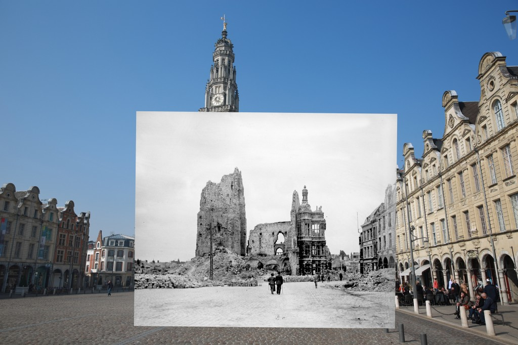 The town hall and belfry of Arras, France is seen from the main square in this archive photo of destruction wrought during WWI. The date of the photo is unknown, but the belfry was destroyed on October 21, 1914. Medieval tunnels under the city, which were expanded during the war, were pivotal in helping British forces to hold the city. 2014 photo by Macdiarmid/Getty Images. Archive photo by Roger Viollet/Getty Images