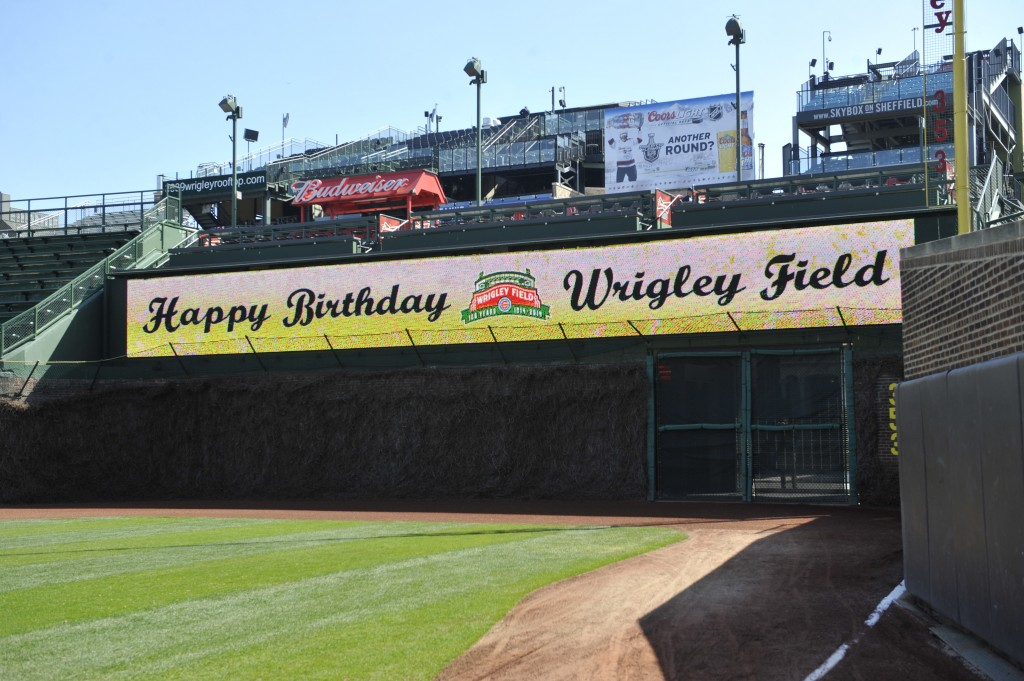 Wrigley Field marks the 100th anniversary of the first game ever played in the historic venue.  Photo by David Banks/Getty Images