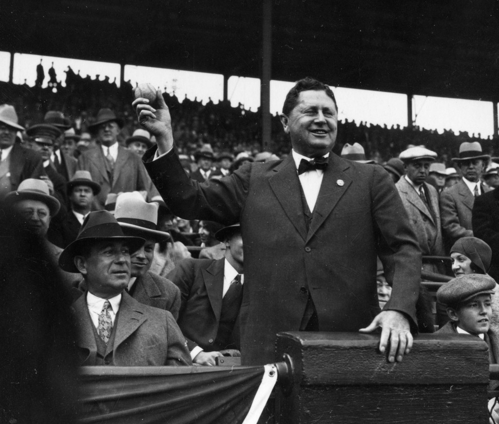 Team owner William Wrigley, for whom the ballpark was renamed in 1926, opens the Chicago Cubs season by throwing out the first ball in April of 1932 in Wrigley Field.  Photo by Mark Rucker/Transcendental Graphics, Getty Images