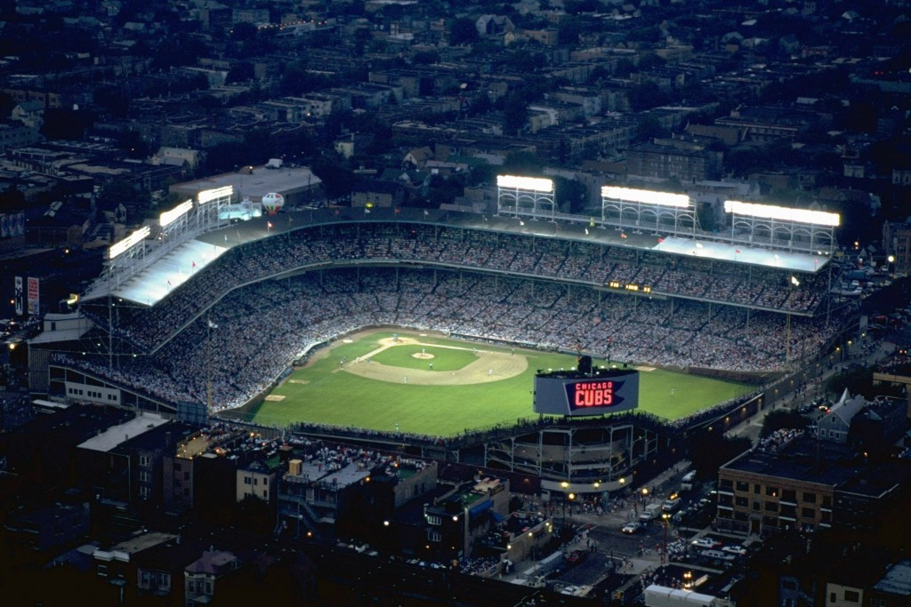 Aerial view of Wrigley Field from a blimp during an August 8, 1988 game between the Chicago Cubs and the Philadelphia Phillies. It was the first night game in Wrigley Field history. Photo by Modra /Sports Illustrated/Getty Images