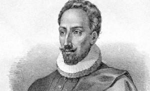 Lithograph of Miguel de Cervantes.