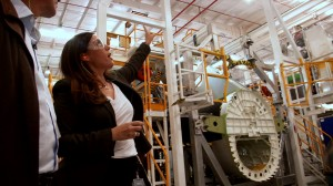 Pilar Abaroa, Communications Manager of Bombardier Aerospace Mexico and Martin Fletcher at the plant in Queretaro, Mexico.