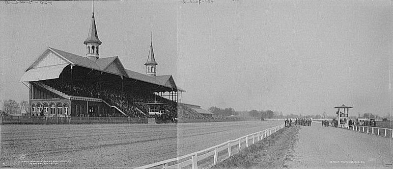 A 1901 composite image of Churchhill Downs, where the Kentucky Derby is held each year.