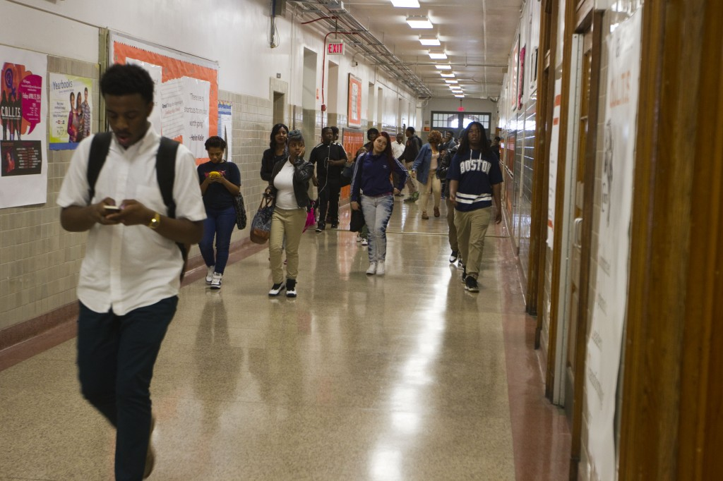 Students fill a hallway at Coolidge High School in Washington, D.C., between classes May 1, 2014. Coolidge opened as a whites-only school in 1940, today it's students are almost exclusively African-American and Latino and from low-income households.