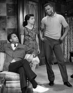 """Ruby Dee alongside -Louis Gossett and Sidney Poitier in """"A Raisin in the Sun"""" in 1959. Photo by Friedman-Abeles"""