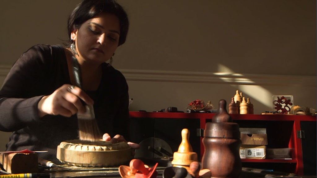 Humaira Abid works in her studio in Seattle, Wa. Photo by Laila Kazmi, KCTS 9