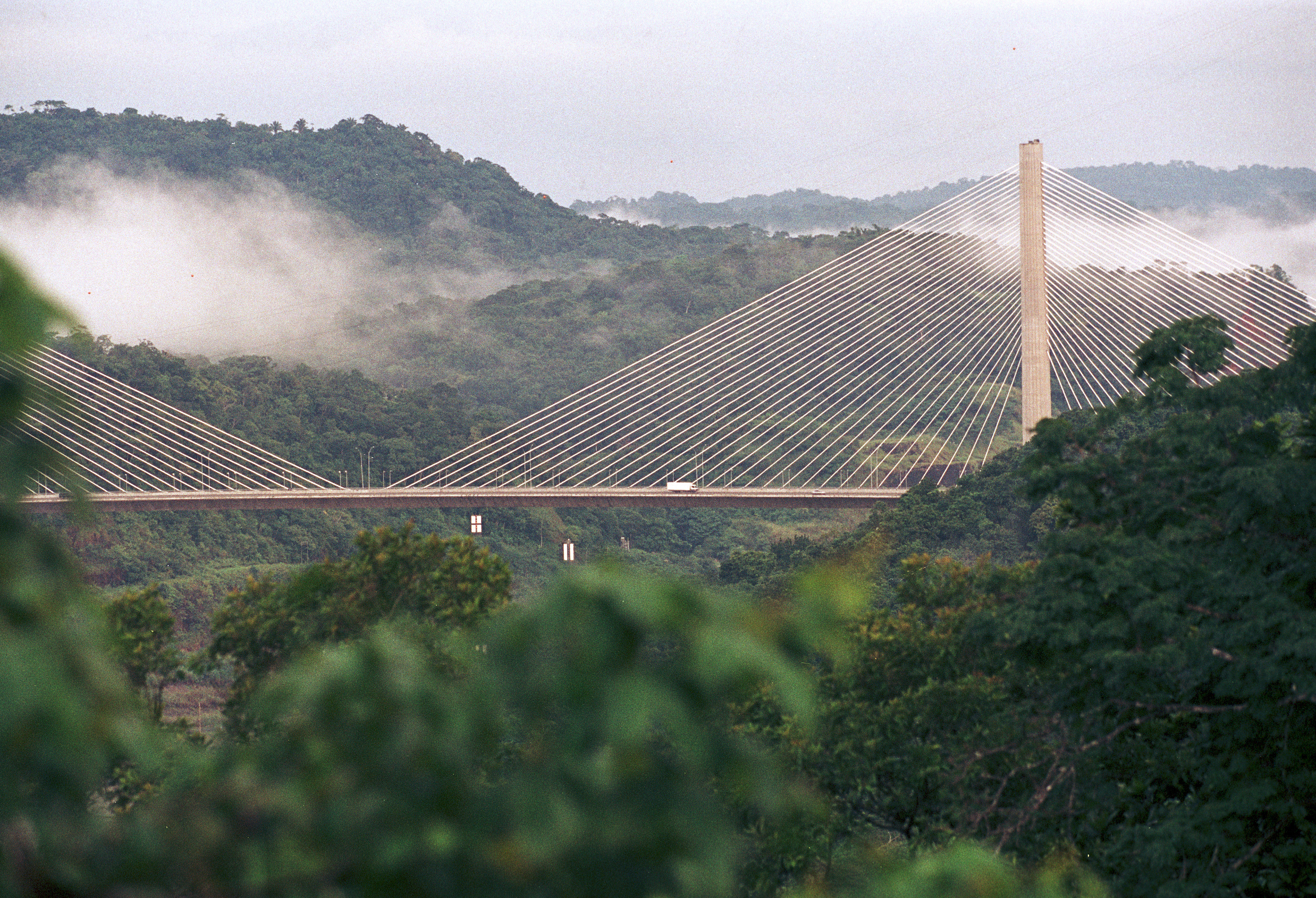 The Puente Centenario, or Centennial Bridge, spanning the Panama Canal opened for traffic in September 2005. It's the second road to cross the Panama Canal and was built to ease congestion of the first roadway, the Bridge of the Americas.