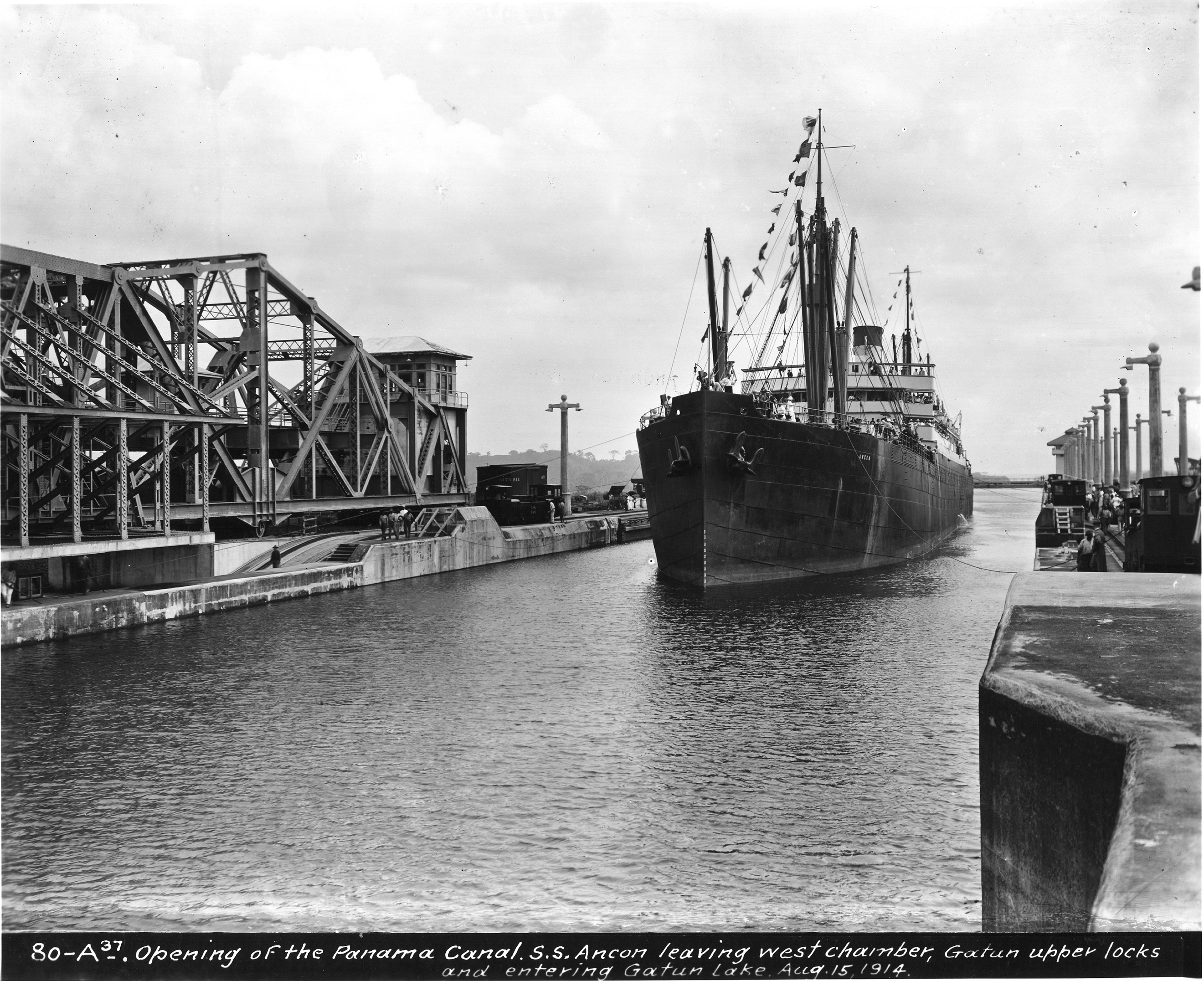 The Panama Canal opened on Aug. 15, 1914. The first ship through was the U.S. steamer the SS Ancon. It's shown here leaving the west chamber of the upper Gatun locks and entering Gatun Lake. Photo by PhotoQuest/Getty Images
