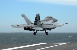 File photo of an F/A-18C aboard the USS George HW Bush