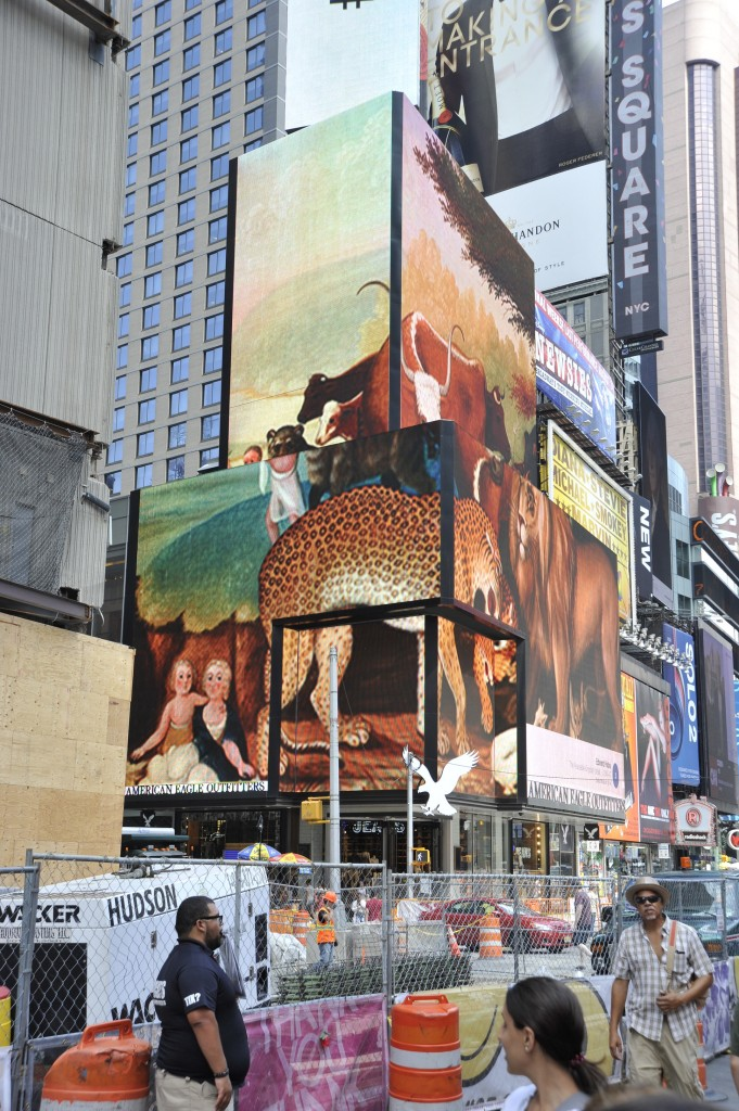 """Art Everywhere US Times Square installation, featuring Edward Hicks' """"The Peaceable Kingdom"""" (c. 1846 - 1847, Dallas Museum of Art, The Art Museum League Fund), photo by Robert Landau."""