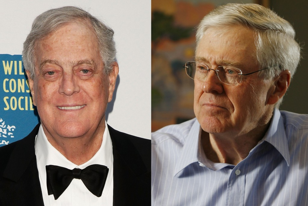 Left: Businessman/politcal activist David Koch attends the 2014 Wildlife Conservation Society Gala at Central Park Zoo on June 12, 2014 in New York City. (Photo by Stephen Lovekin/Getty Images)