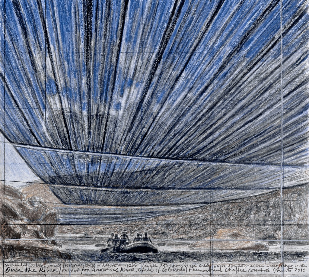 Over the River (Project for Arkansas River, State of Colorado) Drawing 2010 Photo: André Grossmann © 2010 Christo