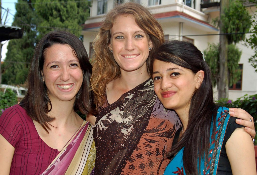Co-founders Claire Charamnac (left) and Claire Naylor (middle) with one of the program's participants. Photo courtesy of Women LEAD Nepal