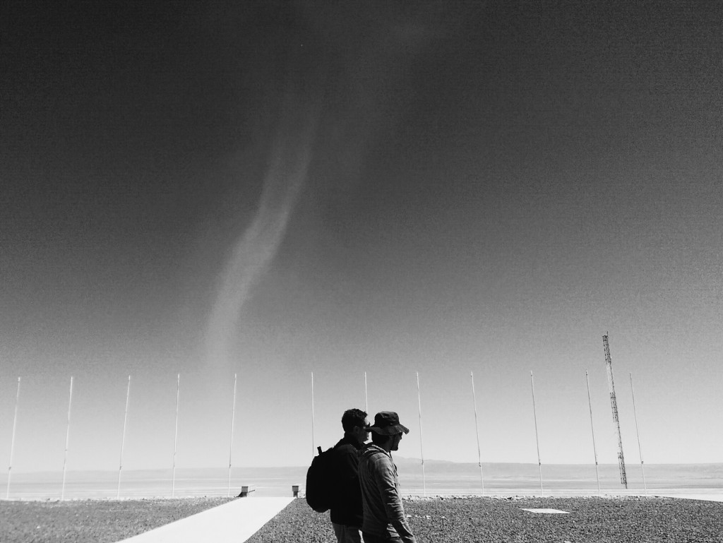 A dust devil forms outside the ALMA Observatory's low site. Photo by Joshua Barajas/PBS NewsHour
