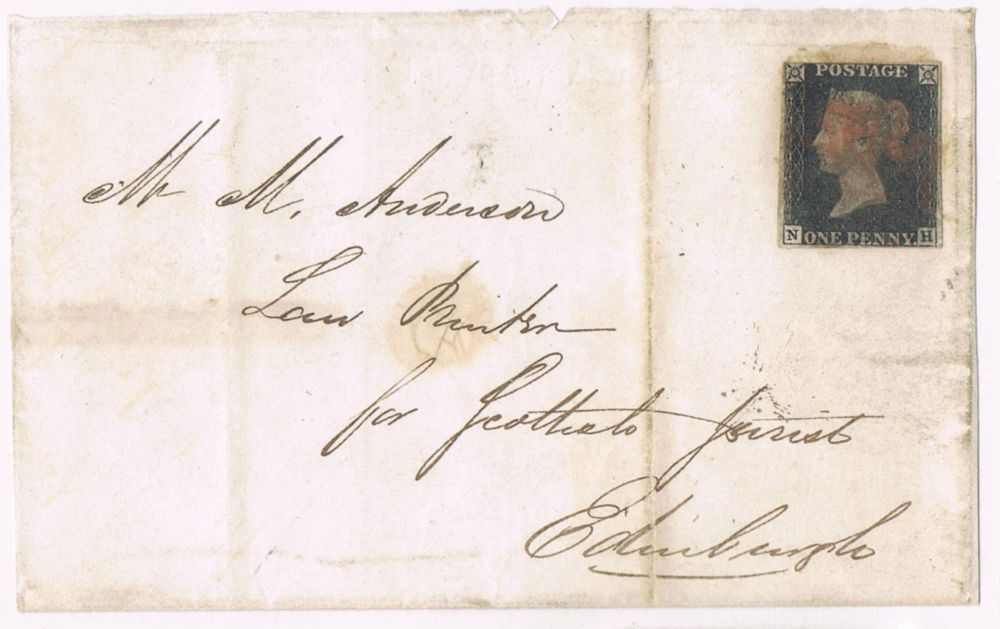 A Penny Black stamp on a postcard to Edinburgh