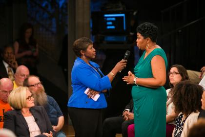The Rev. Traci Blackmon speaks to Gwen Ifill during the taping of America After Ferguson. Photo by Nine Network/Jason Winkeler Photography