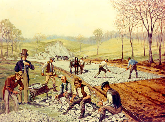 A painting by Carl Rakeman depicts the construction of the first macadam road in the United States, from Hagerstown to Boonsboro, Maryland in 1823.