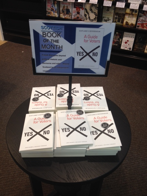 A Waterstone's book store in Glasgow promotes a voter's guide to the election. Photo by Sarah McHaney.