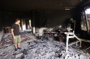 A picture shows the damage inside the burnt US consulate building in Benghazi on September 13, 2012, following an attack on the building late on September 11 in which the US ambassador to Libya and three other US nationals were killed. Photo by Gianluigi Guercia/AFP/GettyImages