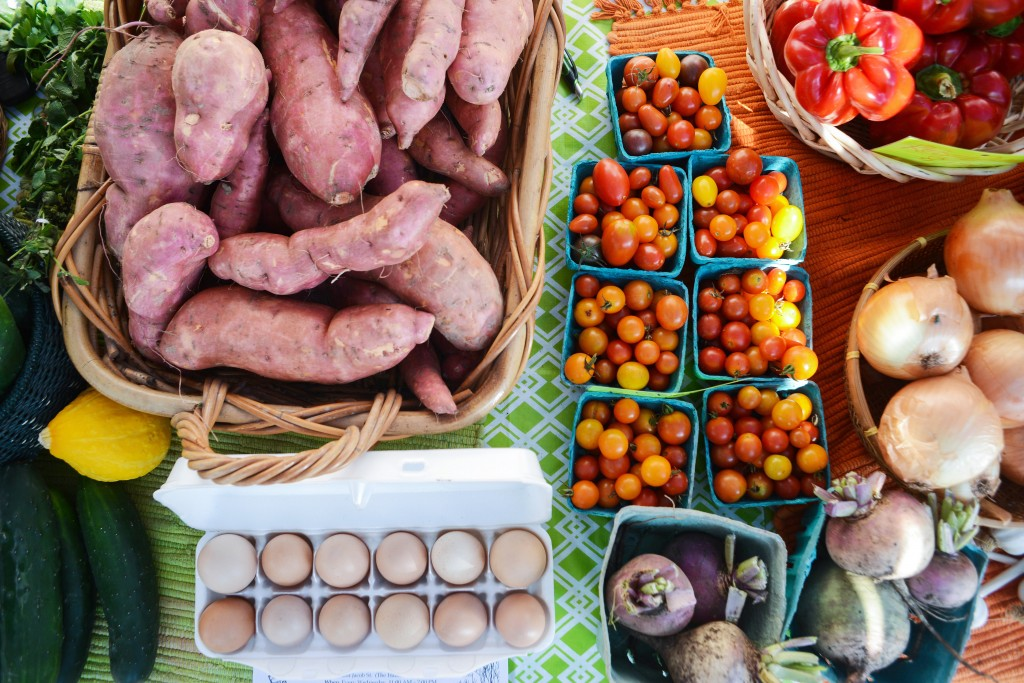 Fresh produce sold at East Wheeling farm stand. Photo by Ariel Min/PBS NewsHour