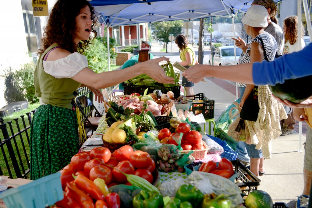 Grow Ohio Valley volunteer Lizzie Reiss helps customers at East Wheeling farm stand. Photo by Ariel Min/PBS NewsHour