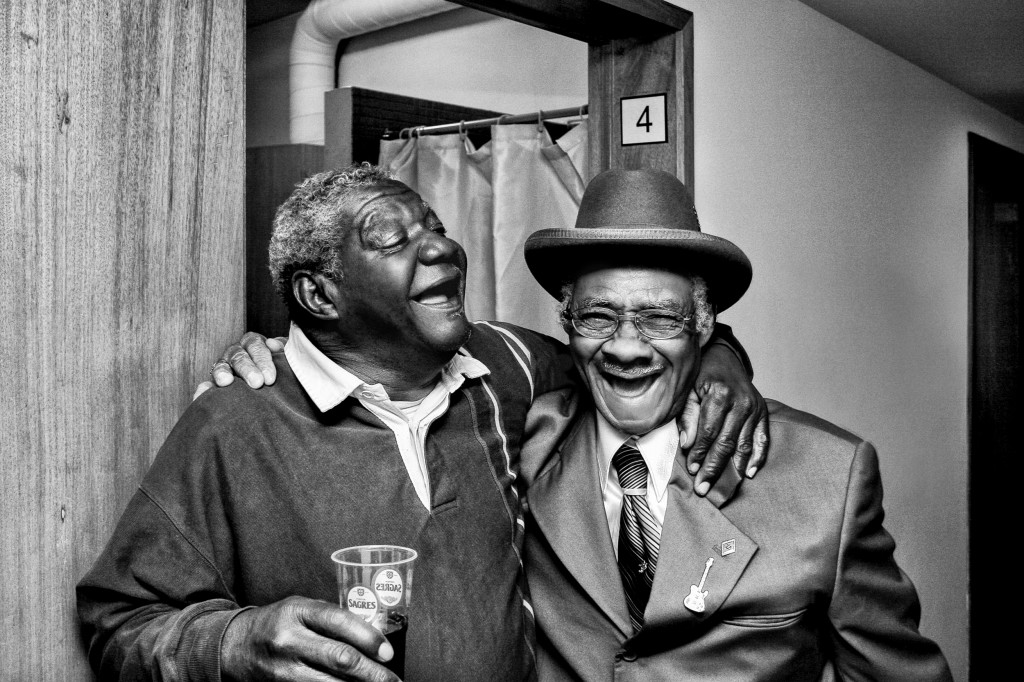 "Macavine Hayes & Little Freddie King, Porto, Portugal, 2006. ""When these artists spend time together performing on the road, they are inspired to play their best, to pull out old material and write new songs."" Photo courtesy Tim and Denise Duffy"