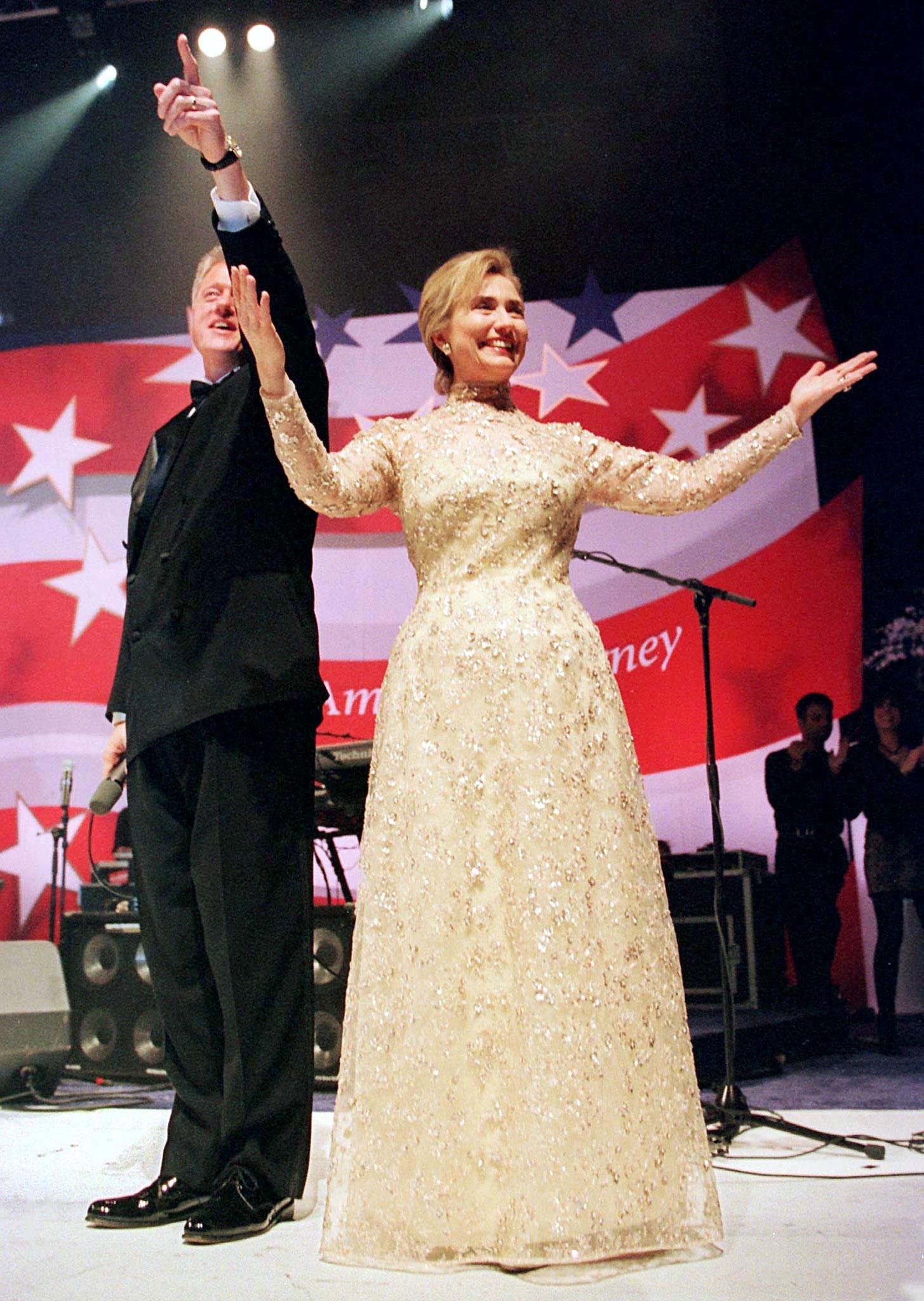 Hillary Clinton wears Oscar de la Renta at Bill Clinton's 1997 inaugural ball. Reuters.