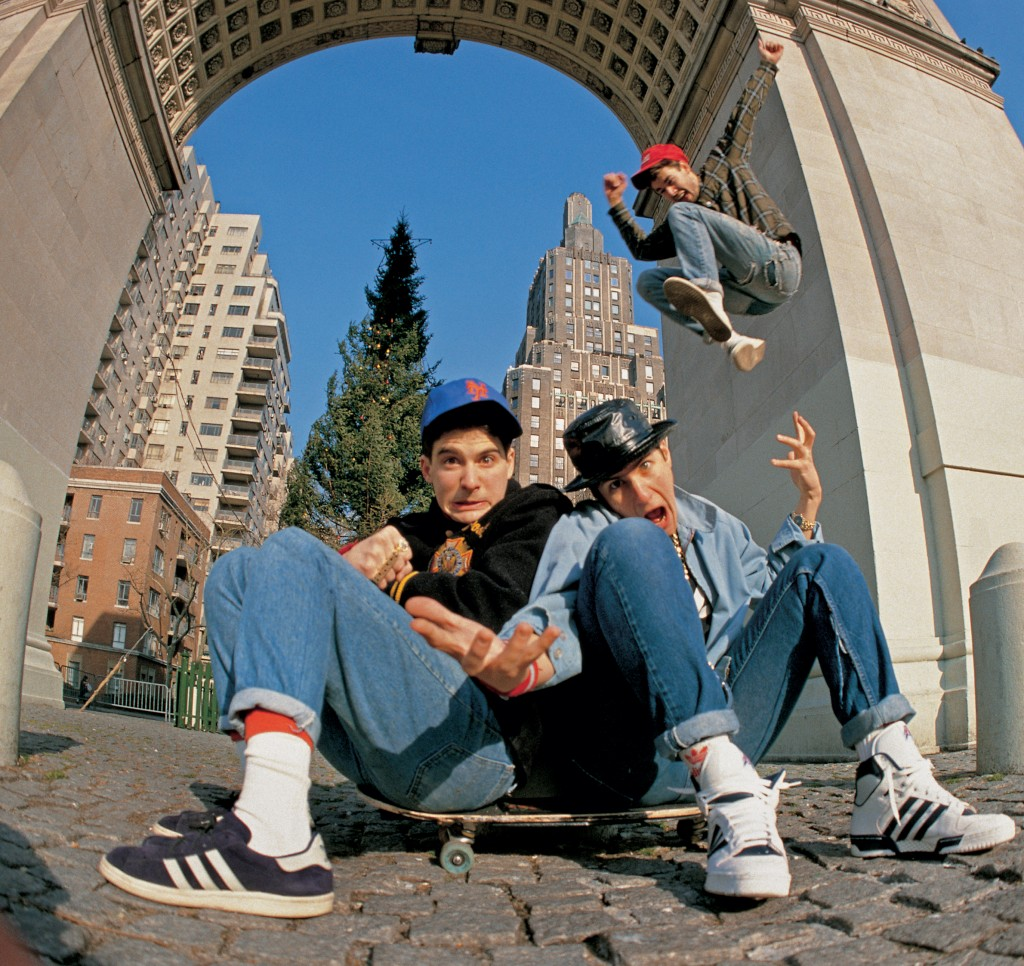 Beastie Boys hang out in New York's Washington Square Park in 1986. Photo by Glen Friedman, courtesy of Rizzolli New York.