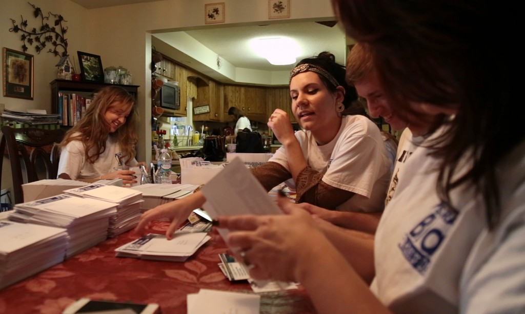 Saira Blair writing letters