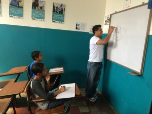 A drawing lesson at the youth outreach center in Chalchuapa, El Salvador. Photo by Jude Joffe-Block/Fronteras Desk