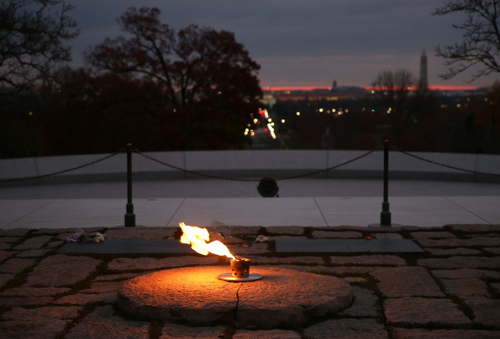 The eternal flame burns at the gravesite of President John F. Kennedy at Arlington National Cemetery. Photo by Mark Wilson/Getty Images