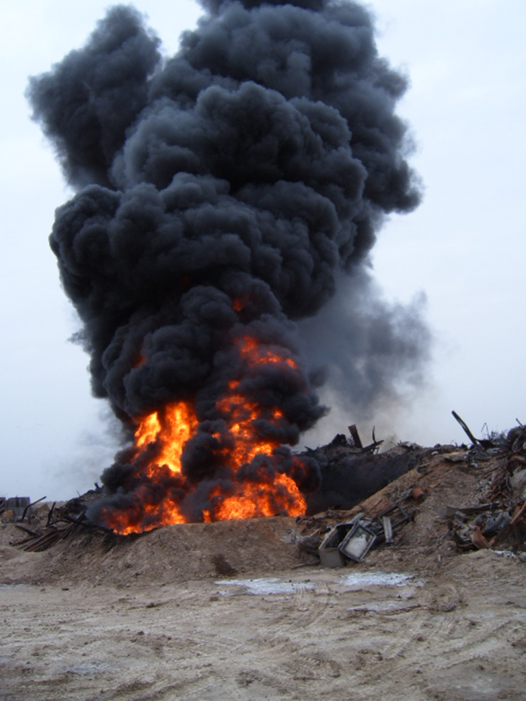 Grease fire at Camp Liberty, Baghdad International Airport, 2005. Photo by Gregory Blahnik