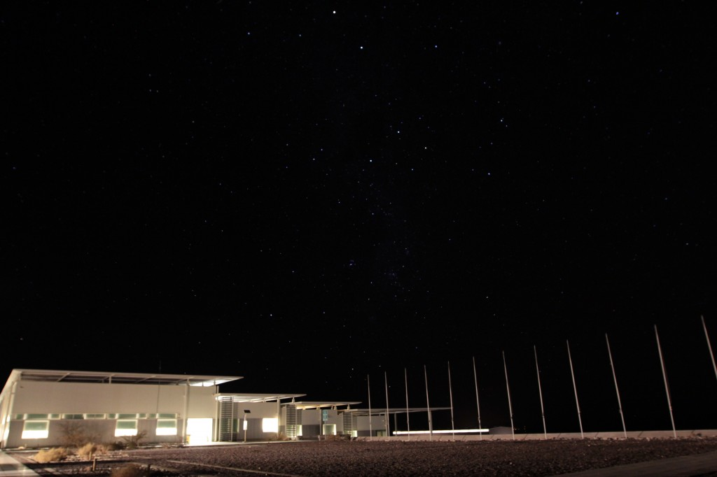 ALMA's Operations Support Facility at night, just as most astronomers are getting to work. Photo by Joshua Barajas/PBS NewsHour