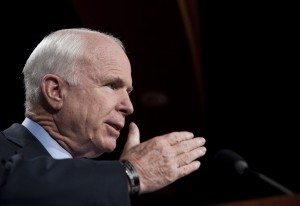 UNITED STATES - AUGUST 3: Sen. John McCain, R-Ariz., holds a news conference on the stimulus oversight report on Tuesday, Aug. 3, 2010. (Photo By Bill Clark/Roll Call via Getty Images)