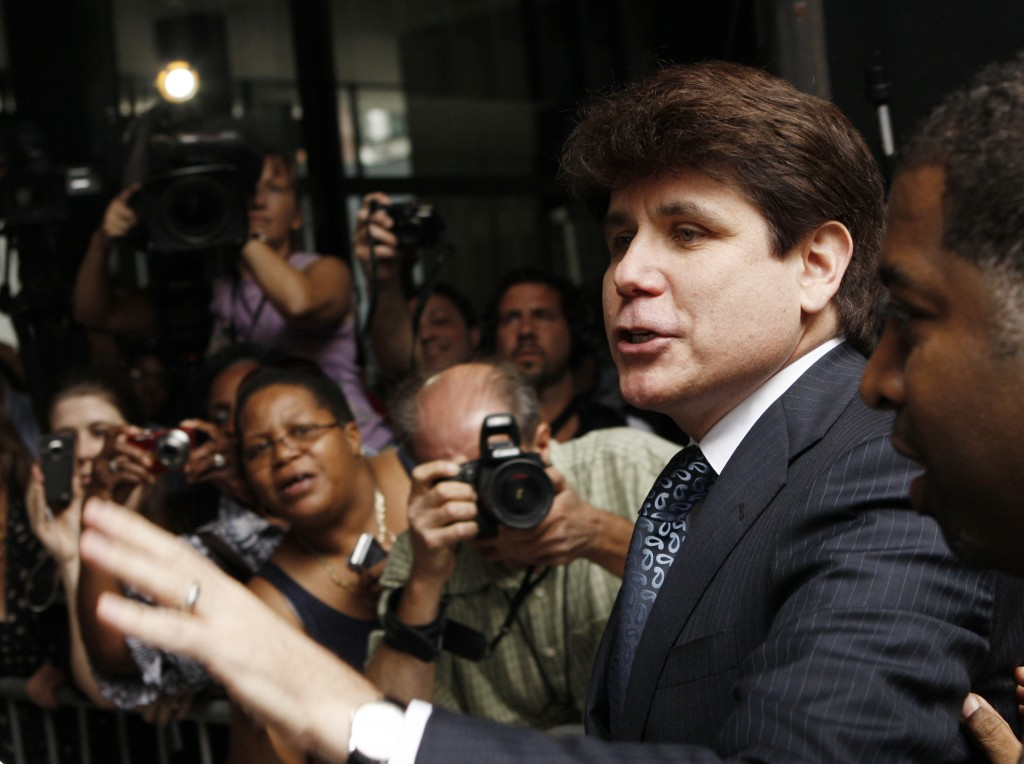 Seen here in 2010, ex-Illinois Governor Rod Blagojevich wants a federal appeals court to rehear his case  after five of his 18 corruption convictions were overturned. Photo by John Gress/Getty Images