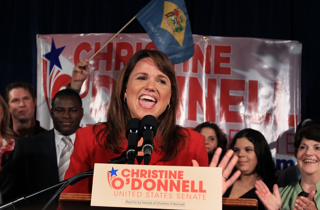 Christine O'Donnell speaks to supporters after winning Delaware's Republican primary for Senate against Rep. Mike Castle. Photo by Mark Wilson/Getty Images